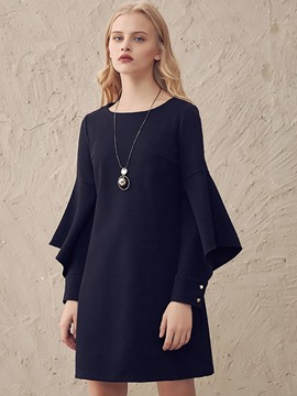 Ericdress Bell Sleeve Hollow Round Collar Above Knee Casual Dress