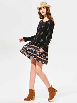 Ericdress Round Neck Geometric Pattern Print Casual Dress