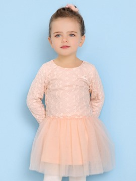 Ericdress Pink Lace Long Sleeve Bay Girls Tutu Dress