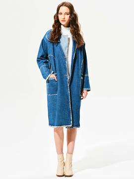 Ericdress Plain Lapel Single-Breasted Denim Outerwear