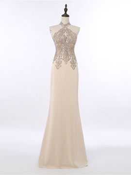 Ericdress Sheath High Neck Beaded Floor Length Evening Dress