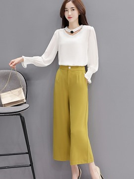 Ericdress Ruffles Pleated Hollow Long Sleeve Chiffon Wide Legs Suit