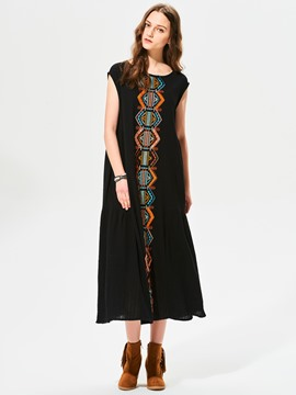 Ericdress Geometric Pattern Embroidery Sleeveless Maxi Dress
