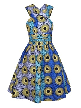 Ericdress Vintage Backless Cross Polka Dots Pleated A Line Dress