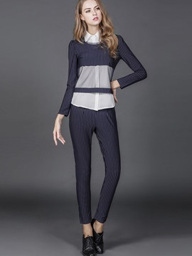 Ericdress OL Stripe Long Sleeve See-Through Pants Suit