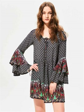 Ericdress Geometric Pattern Bell Sleeve A-Line Casual Dress