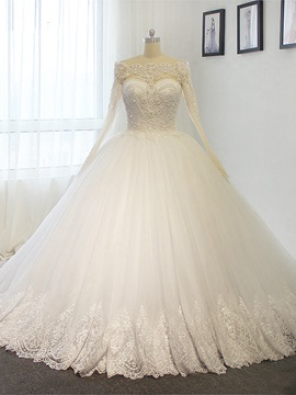 Ericdress Long Sleeves Appliques Beaded Ball Gown Wedding Dress