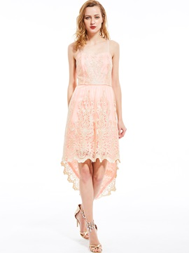 Ericdress Spaghetti Strap High-Low Backless Lace Dress