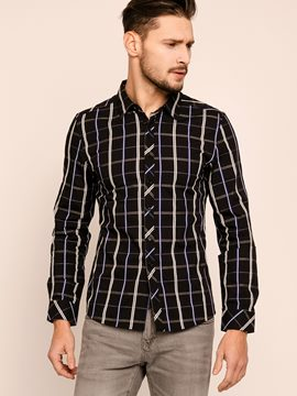 Ericdress Long Sleeve Lapel Single-Breasted Plaid Men's Shirt