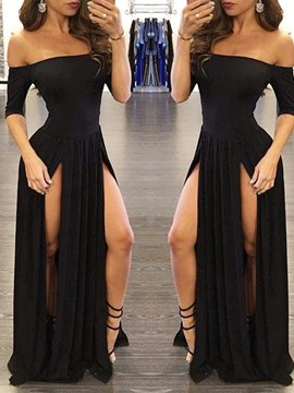 Ericdress Sexy Slit Half Sleeve A Line Long Evening Dress