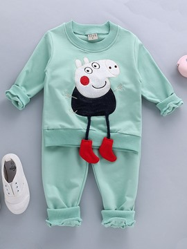 Ericdress Pig Cartoon T-Shirt Pants Casual Boys Outfit