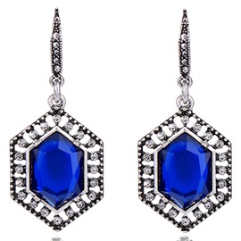 Ericdress Personality Geometry Blue Gemstone Pendant Earrings