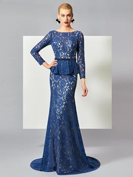 Ericdress Graceful Long Sleeve Beaded Waistline Deep Back Lace Mermaid Evening Dress