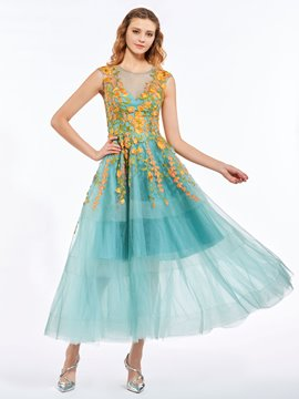 Ericdress A-Line Scoop Appliques Embroidery Ankle-Length Prom Dress
