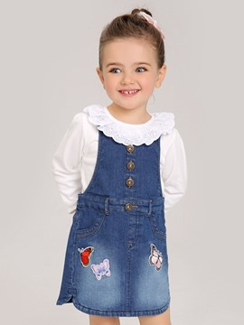 Ericdress Embroidery Button Suspenders Denim Bay Girls Dress