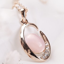 Ericdress Water Droplets Pink Opal Pendant Necklace