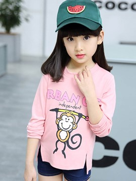 Ericdress Cartoon Printed Long Sleeve Girls T-Shirt