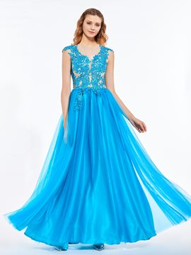 Ericdress A Line Cap Sleeve Lace Applique Floor Length Long Prom Dress