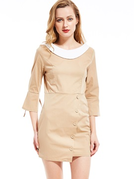 Ericdress Button Above Knee Three-Quarter Sleeve Flare Sleeve Plain Dress