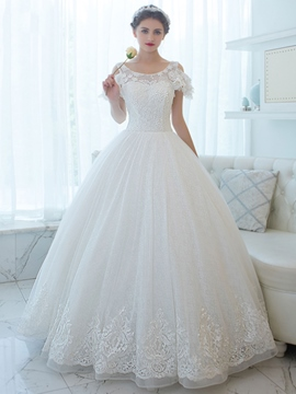 Ericdress Scoop Appliques Ball Gown Wedding Dress