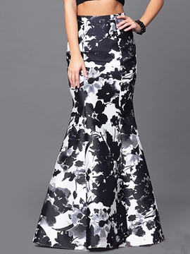 Floral Print Color Block Expansion Skirt