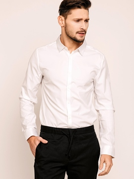 Ericdress Quality Plain Lapel Long Sleeve Formal Men's Shirt