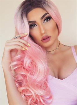 Ericdress Pink Dark Root Long Wave Ombre Synthetic Hair Lace Front Cap Wigs 24 Inches
