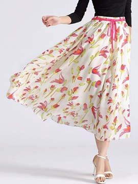 Ericdress Floral Print Chiffon Pleated Lace-Up Expansion Skirt