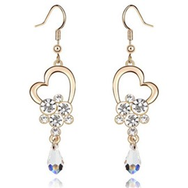 Ericdress Exquisite Heart-Shaped Earrings with Crystal
