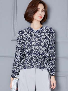 Ericdress Lace-Up Floral Blouse