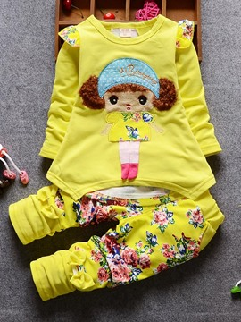 Ericdress Floral Print Doll Pattern 2-Pcs Girls Outfit