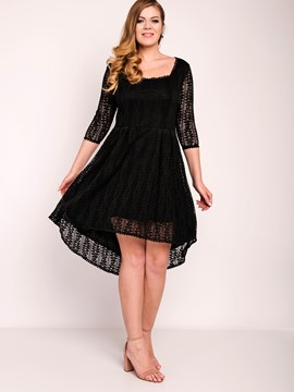 Ericdress Square Neck See-Through Platinum Plated Plus-Size Lace Dress