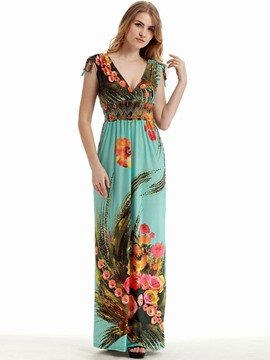 Ericdress Floral Print V-Neck Sleeveless Bohemian Maxi Dress