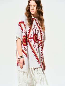 Ericdress Casual Loose Geometric Tassel Cape