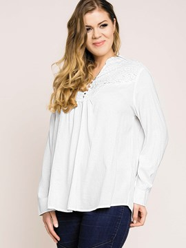 Ericdress Plus Size White Lace Panel Pleated Blouse
