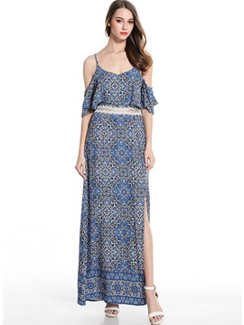 Ericdress Off-the-Shoulder Floral Print Bohemian Maxi Dress