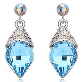 Ericdress Fashion Blue Water Drop Crystal Earrings