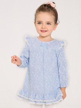 Ericdress Floral Falbala Long Sleeve Bay Girls Dress