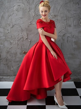 Ericdress Beading Cap Sleeve Asymmetrical Red Evening Dress