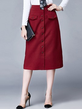 Ericdress Plain High-Waist Button Patchwork Skirt