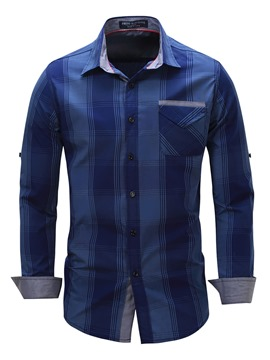 Ericdress Pocket Patched Color Block Casual Men's Shirt