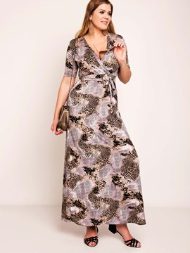 Ericdress Sexy Leopard Print Belt Plus Size Maxi Dress