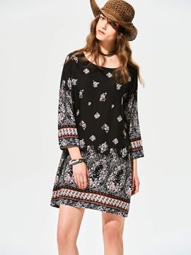 Ericdress Round Neck Geometric Pattern Casual Dress