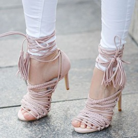 Ericdress Pink Cut Out Lace up Stiletto Sandals