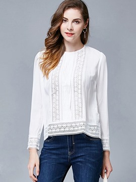 Ericdress Solid Color Lace Patchwork Round Neck Blouse