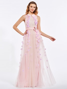 cacaadcfd505bc Ericdress A-Line Jewel Neck Beading Sashes Flowers Floor-Length Prom Dress