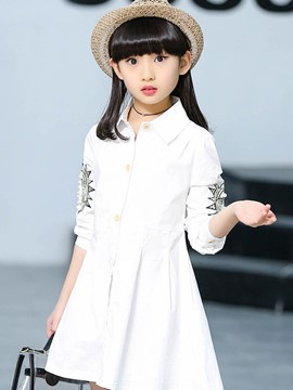Ericdress Bead Skater Long Sleeve Girls Dress