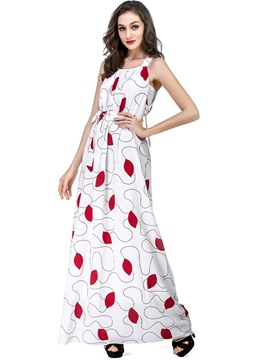 Ericdress Sleeveless Floral Print Expansion Maxi Dress