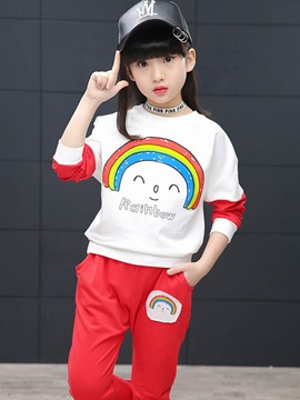 Ericdress Rainbow Casual 2-Pcs Girls Outfit