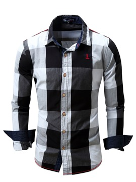 Ericdress Plaid Long Sleeve Color Block Casual Men's Shirt
